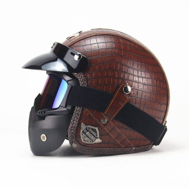 Vintage Motorcycle Helmets with Various Designs