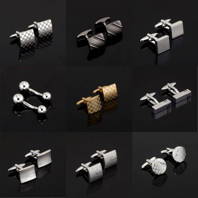 Fashion Engraved Silver & Gold Cufflinks