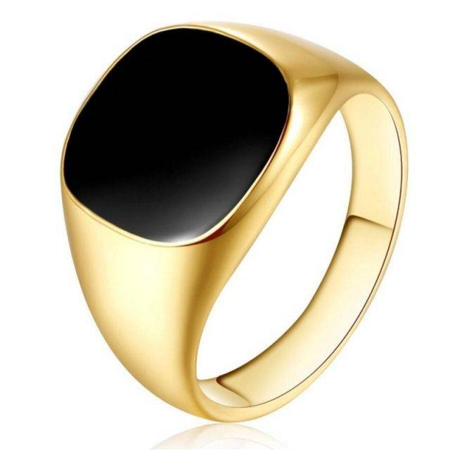 Classic Black Enamel Ring