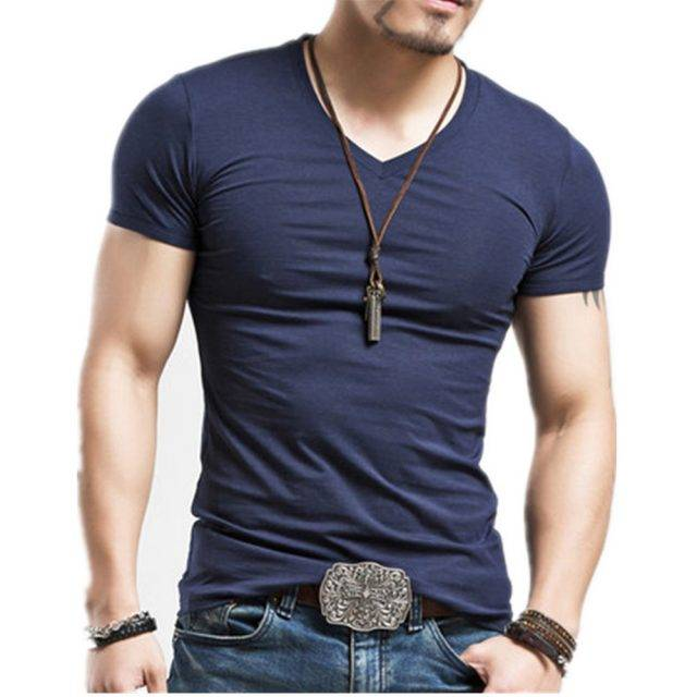 Elastic V-Neck Men's Summer T-Shirt