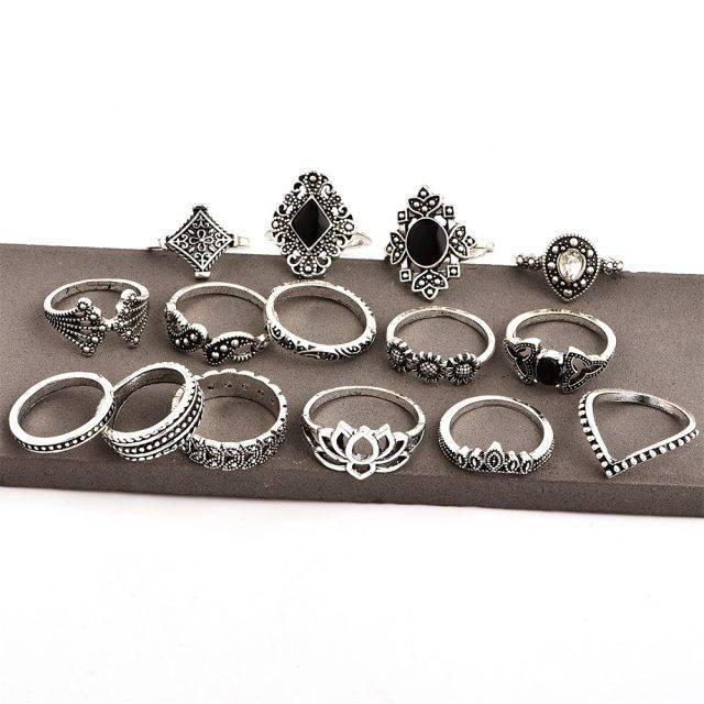 Bohemian Style Silver Rings 15 pcs Set