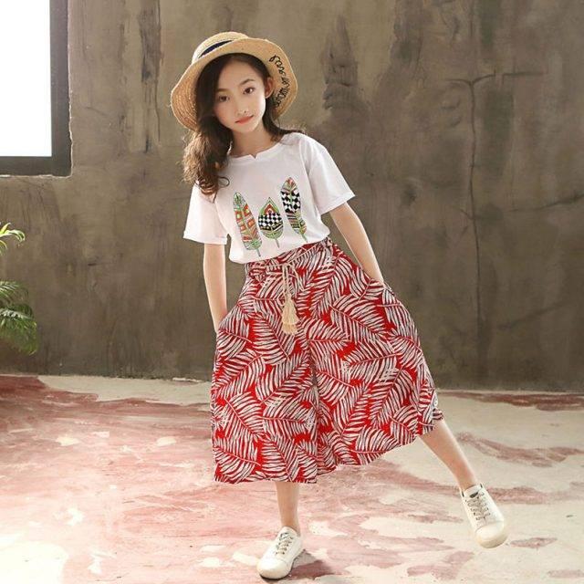 Girl's Fashion Printed Polyester T-Shirt and Pants