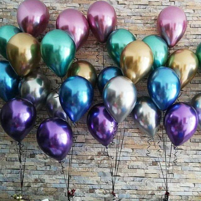 Metal Color Latex Balloons 12 pcs/Set