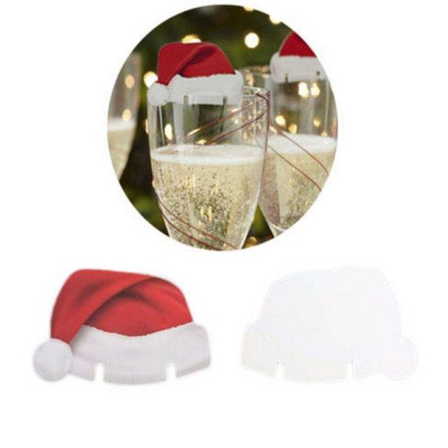 Christmas Santa Hat Wineglass Decoration