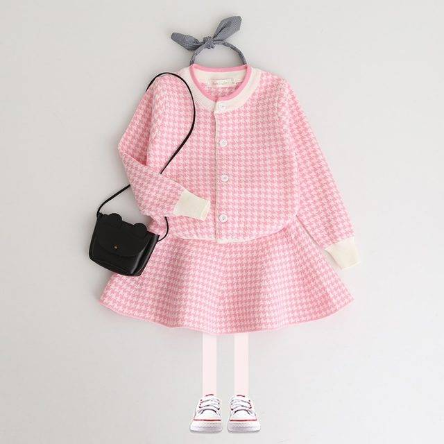 Girl's Geometric Pattern Warm Cardigan and Skirts Set