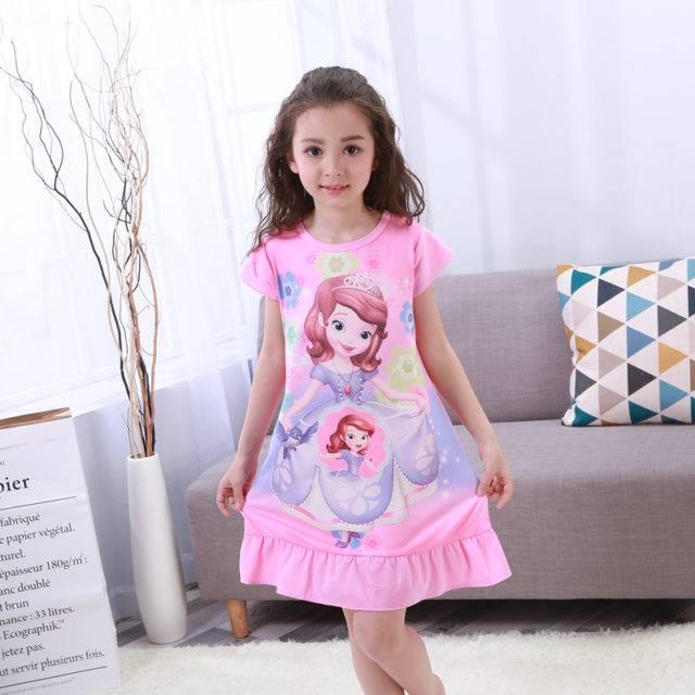 Pretty Girl`s Princess Printed Sleeping Dress