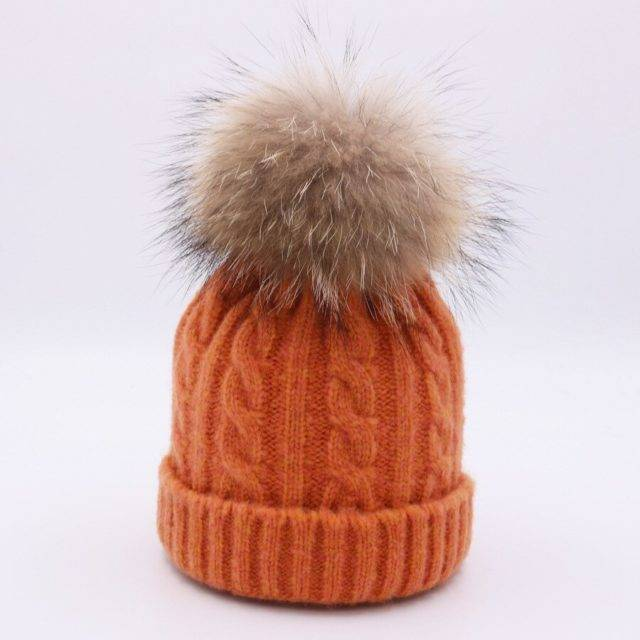 Warm Winter Hat for Toddlers with Fuzzy Pompom