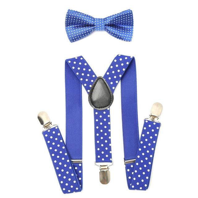 Boy's Elastic Adjustable Suspenders With Bow Tie