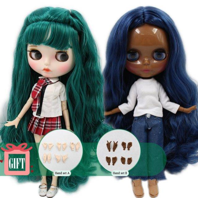 Colorful Hair Blyth Doll with Carved Lips Face for Kids