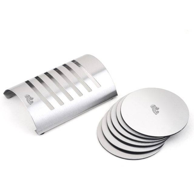 Round Stainless Steel Coaster Set