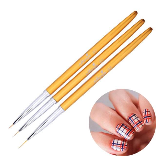 Set Gold Metal Nail Art Liner Brushes