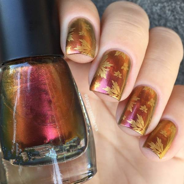 Leaves Nail Art Template