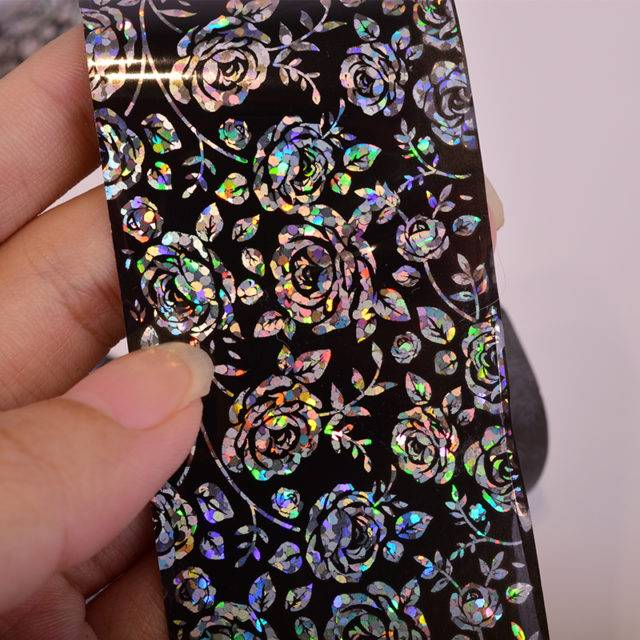 Holographic Flower Nail Foil Stickers