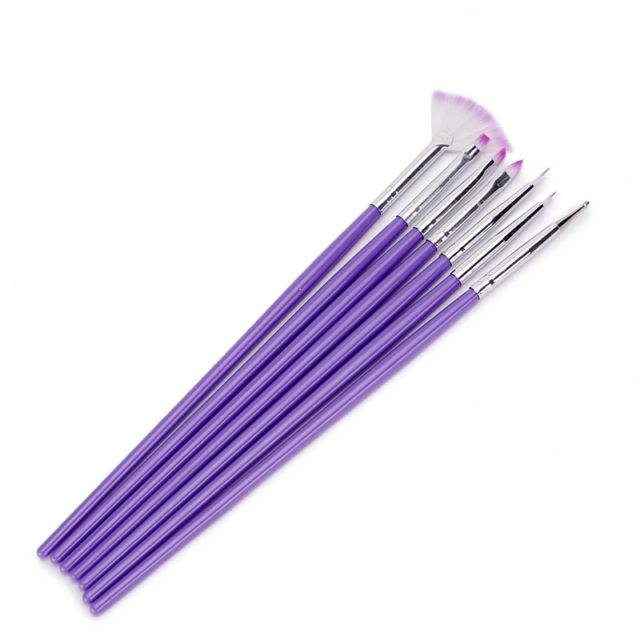 Set Purple Nail Brushes for Painting