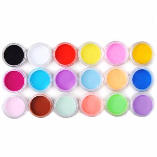 Set Colored Nail Acrylic Powders