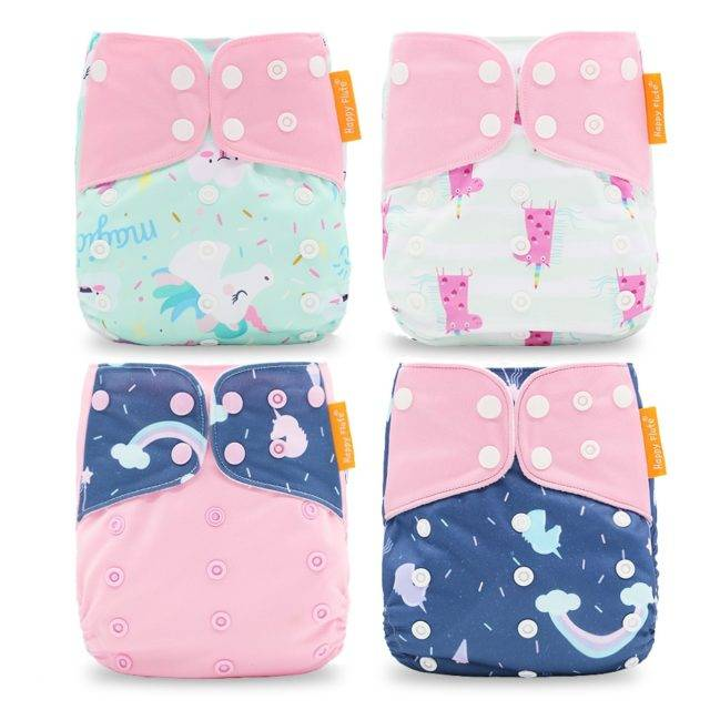 Breathable Washable Cloth Nappies Set with Cute Print
