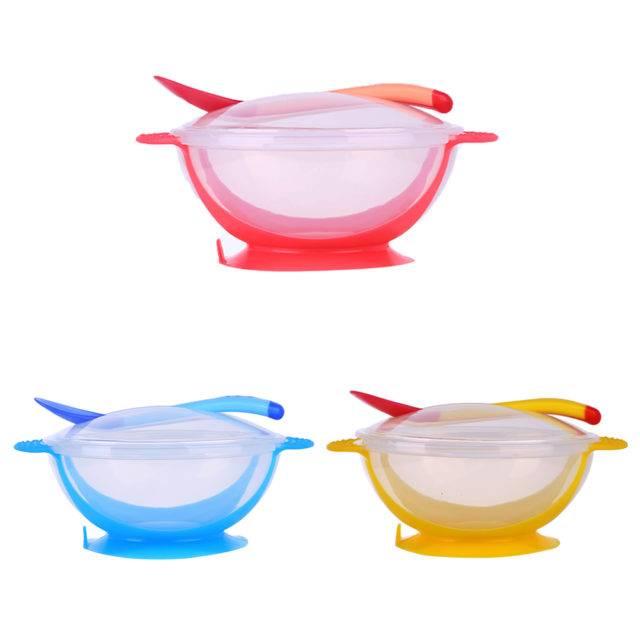Baby's Tableware Set with Temperature Sensing Spoon