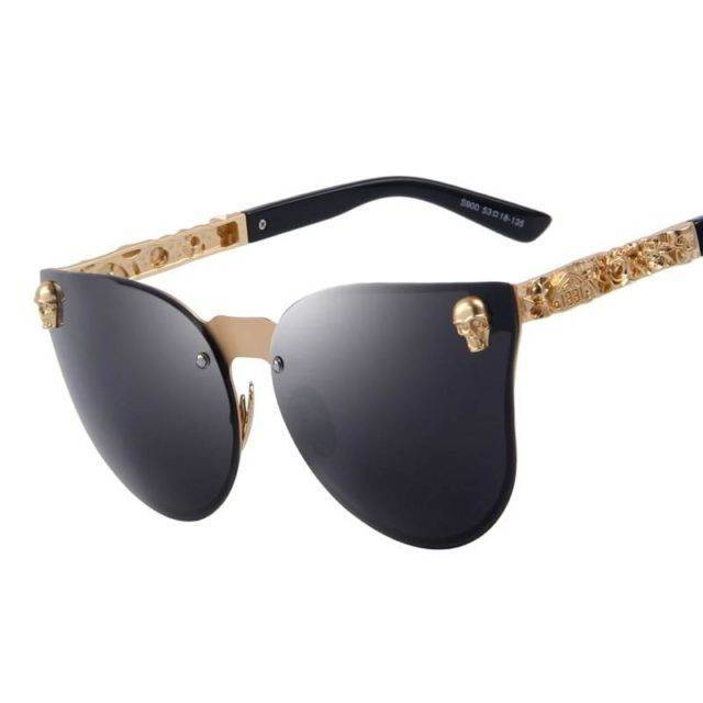 Women Gothic Gold Skull Frame Metal Sunglasses