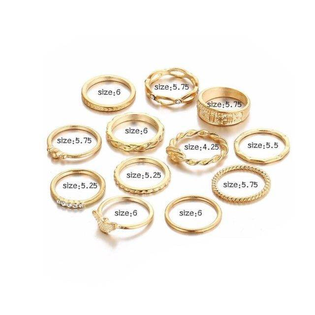 12 Pieces of Charm Finger Ring Set for Women